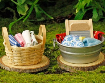Wash Tub and Laundry Basket,Fairy Wash Tub and Laundry Basket, Basket of Laundry, Fairy Laundry, Fairy Garden Accessory, The Fairy Garden