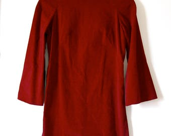 Vintage 1960s Ruby Red Velvet Bell Sleeve Shift Dress with Cowl Neck - Extra Small