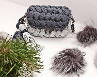Evening little clutch Gray purse Womens handbag Structured clutch for women