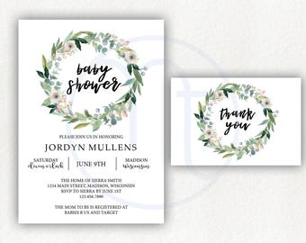 Printable, Customized, Floral Wreath, Rustic, Simple Baby Shower Invitation, Thank you Card, Digital Download
