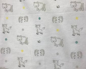 Hedgehog hemstitched flannel baby blanket
