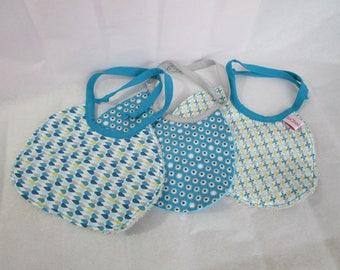 Set of 3 bibs fabrics cotton and sponge