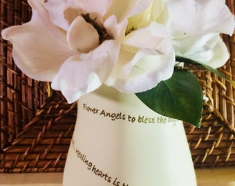 Memorial Magnolia Floral Arrangement/3 Magnolia Blossoms/Spanish Moss/Green Leaves/Flower Angels Saying on Vase