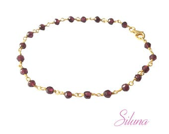 Bracelet Garnet chain Rosary in vermeil (sterling silver 925 gold plated)