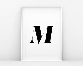 Letter M - Typography Print - Minimalistic Poster - Nordic Home - Printable Wall Art - Instant Download - Scandinavian and Danish Art Print