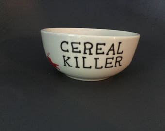 Personalised hand painted cereal killer bowl