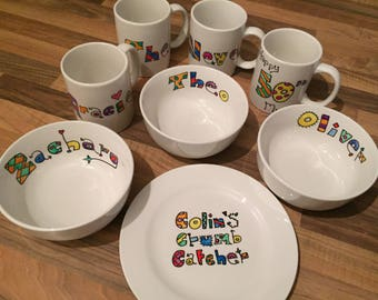 Hand painted personalised dinner set 4 piece set