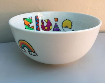 Hand painted personalised rainbow cereal bowl. Personalised with any name