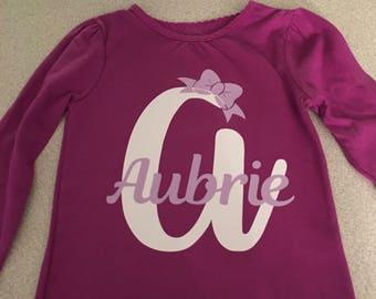 Kids Name with Initial Tee shirt