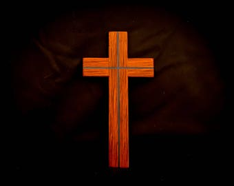 Wooden cross with glow resin