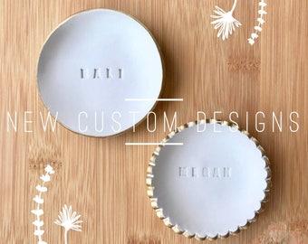 Custom made Polymer Clay Jewelry Dish, Ring Dish, Trinket Dish, Ring Holder (Joyero Tipo Plato)