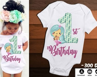 Mermaid Iron on Transfer Image-Mermaid First Birthday Shirt-DIY Mermaid Birthday Shirt-Printable Birthday Girl Shirt-DIGITAL DOWNLOAD