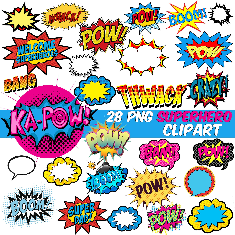 Free Comic Book Day Banner: SuperHero Clipart-Comics Bubble ClipArt-SuperHero Speech
