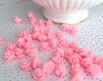 Pink Rose Cab   Pink Resin Rose Cabochon   Flower Cabochon   Resin Flower   Resin Rosebuds   8MM Resin Rose   Flatback Rose   16 Pieces