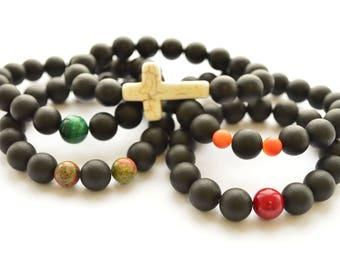 Black men's Women's Unisex Bracelet 16-23 cm Unpohished Black rounded beads, Couple Bracelets , Gift bracelets, 100% Baltic Amber Mens Gift
