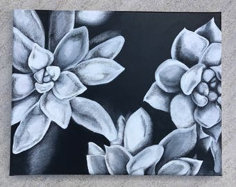 Black & White Succulent Painting