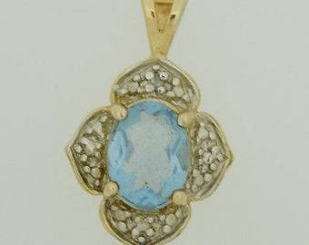Sterling Silver & Vermeil Estate Blue Gemstone Pendant