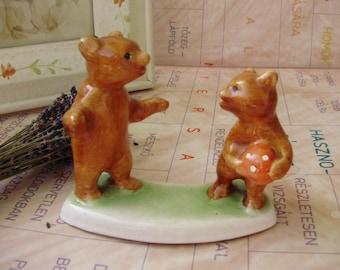 Vintage porcelain, bear cubs , handpainted,stamped