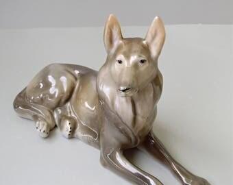 Vintage Hungarian porcelain dog figurine,German shepherd, stamped,handpainted