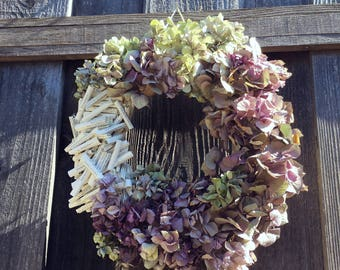 flower wreath hydrangea wreath book page wreath front door wreath summer wreath