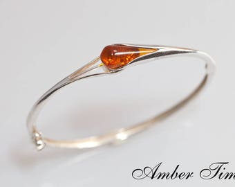 BB0005 Sterling Silver Ag 925 & Natural Baltic Amber Bracelet