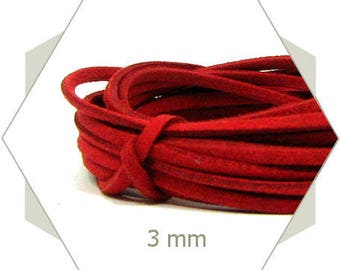 1 m strap suede 3 mm red CS04