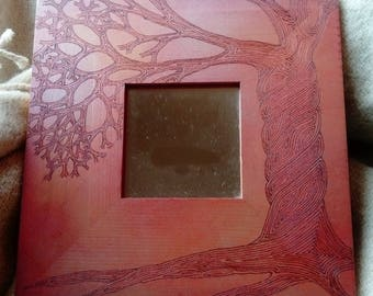 Abstract Pyrography Tree Mirror