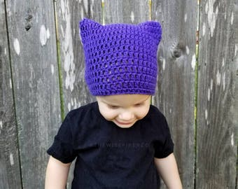 Halloween Costume Hat, Crochet Kitty Cat Ear Hat / Beanie / Tuque, Black Purple and Orange Crochet Cosplay Costume for kids, Christmas Gifts