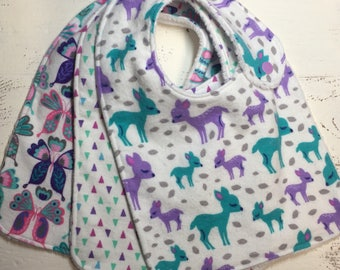 Baby girl bibs-fawn/deer/butterfly/purple triangles-baby shower gift set-side snap drool bibs