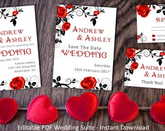 wedding suite instant download editable templates black red wedding invite rsvp - Black And Red Wedding Invitations