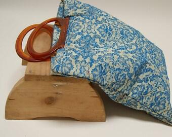 Vintage 60s Brocade Handbag ⎮ Blue 60s Vintage Floral Purse ⎮ Adjustable Handbag