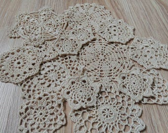 Set Of15 Crocheted Doilies Crochet Medallions Assortment Mini Doily Boho Crafts Flower Dream Catcher Decorative Tea Time Coasters Home Decor