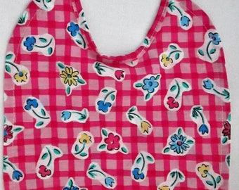 POSIES! FLOWERS!  Pink Checkered Baby Bib 100% Cotton CUTE!