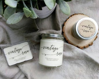 vintage rose - hand poured soy candle