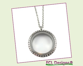 30mm CZ Silver Large Round Floating Charm Locket Necklace