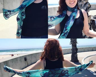 Blue and Purple Floral Silk Scarf