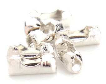 50 2.4 mm silver plated ball chain connector clasps