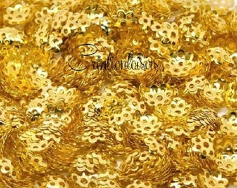 100 pearls Lacy gold plated flower bead caps