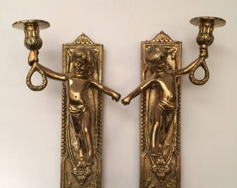 Vintage Pair of Solid Brass Ornate Cherub Wall Sconces