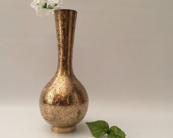 Tall Brass Etched Vase with Rounded Bottom