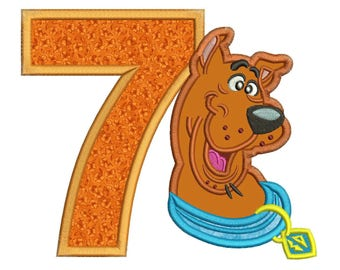 Scooby Doo 7th Birthday Applique Design 3 sizes Instant Download