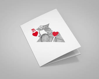 """Valentine's Day card """"King of hearts"""" with envelope"""