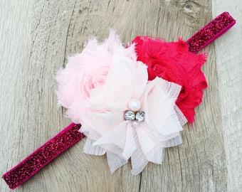Pink bow, pink headband, baby bow, baby headband, girls bow, girls headband, newborn bow, newborn headband, infant bow, infant headband,
