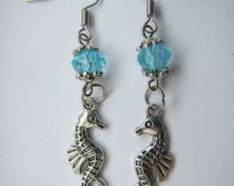 Seahorse under the bead earrings