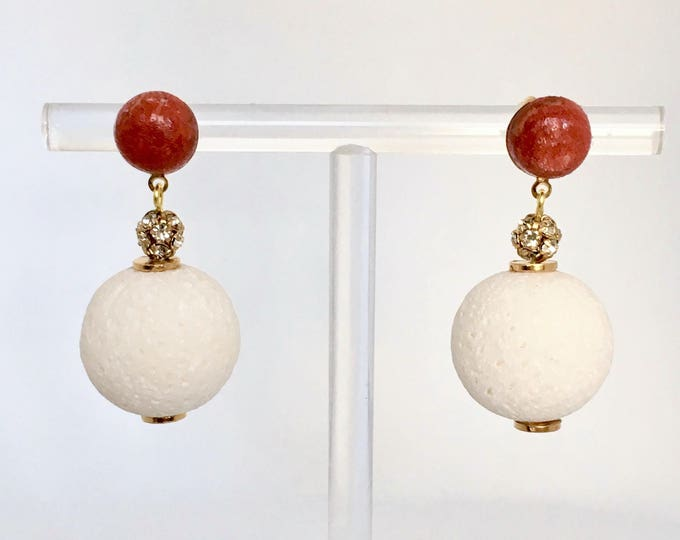 Coral drop earrings, red and white natural coral stones