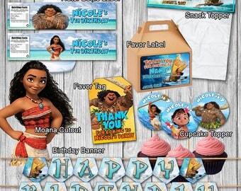 PRINTABLE -Moana Birthday Custom Printables
