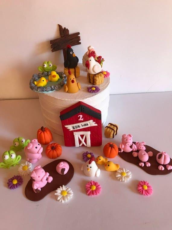 Fondant Farm Animals Cake Decoration Cow Donkey Sheep chicken