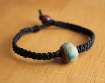 Black Hemp Bracelet with Clay Abstract Turquoise Accent Bead - Comfortable and Casual Jewelry - Unisex Jewelry - Unique Bead Bracelet