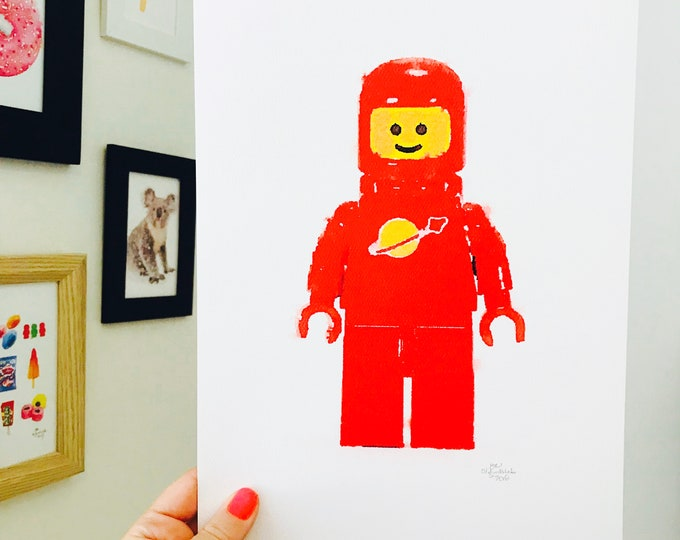 Iconic Lego Character Print.  A4 Size Designed and Printed in Australia.