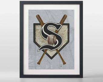 Chicago White Sox-inspired Baseball Art Print